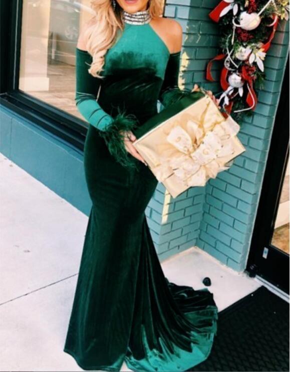 Mermaid High Neck Cold Shoulder Long Dark Green Velvet Prom Dress with Beading