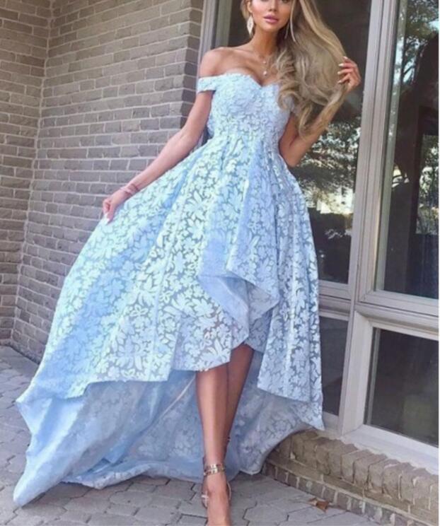 A-Line Off-the-Shoulder Hi-Low Light Blue Lace Prom Dress