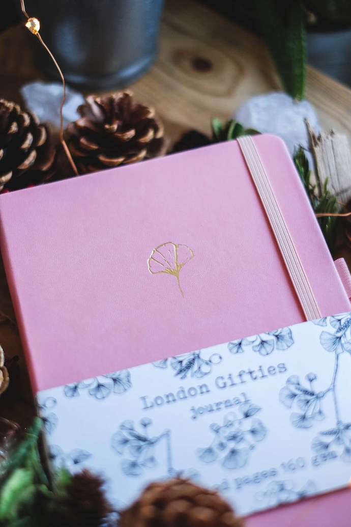 London Gifties Ginkgo Journal - A5 size in Pink - dotted notebook 160gsm thick