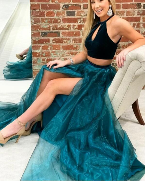 Two Piece Crew Sweep Train Turquoise Organza Prom Dress with Split Keyhole
