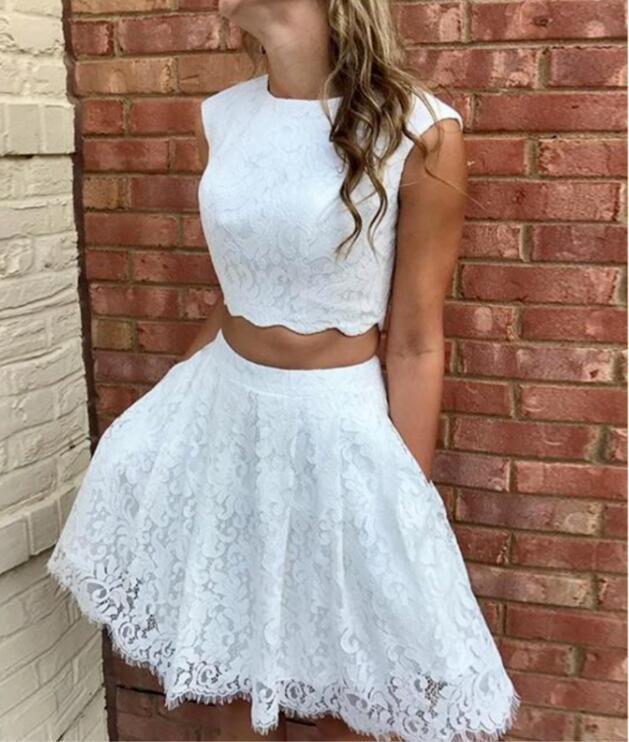 Two-pieces Fulle Lace Sleeveless Homecoming Dresses With Pockets