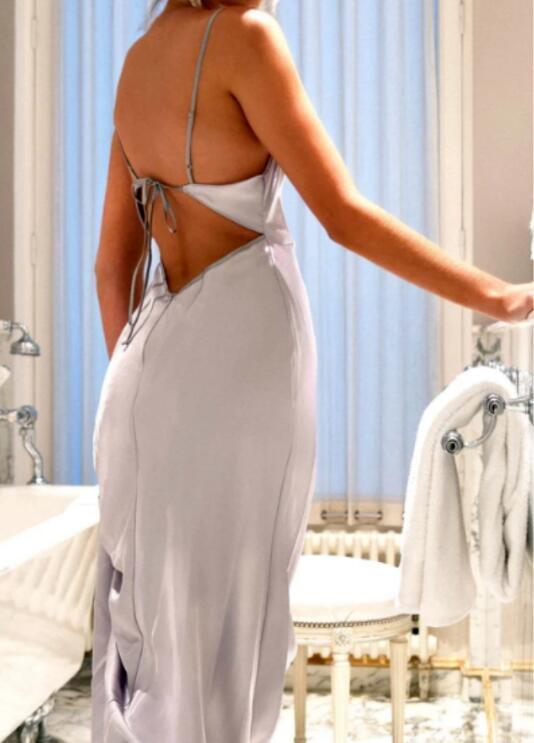 Silver Spaghetti Straps Backless Floor-Length Sheath Prom Dress