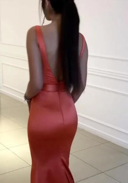 Satin Mermaid Backless Simple Sleeveless Long Prom Dresses