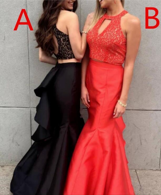 Two Pieces Mermaid Sleeveless Lace Open-back Satin Long Prom Dresses