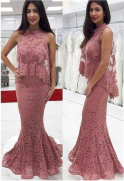 Dusty Pink High Neck Two Piece Prom Dresses Affordable Evening Dresses