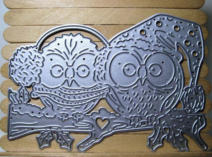 Winter Owl Friends on Branch Metal Die Tattered Lace