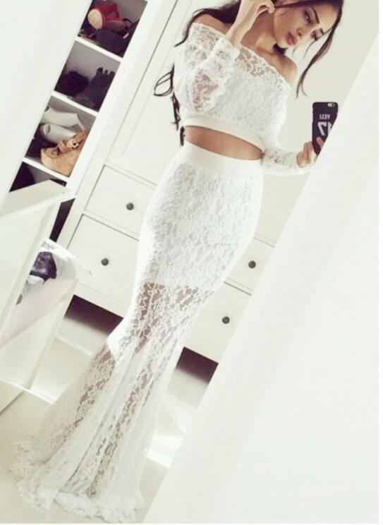 White Off Shoulder Long Sleeves Lace Evening Dresses Long Prom Dresses