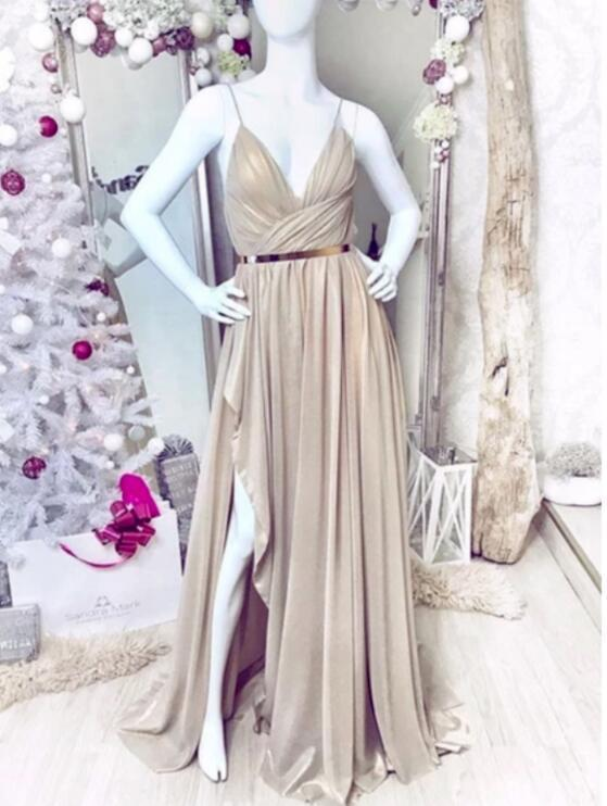 Simple Sweetheart Chiffon Champagne Long Prom Dress Champagne Evening Dress
