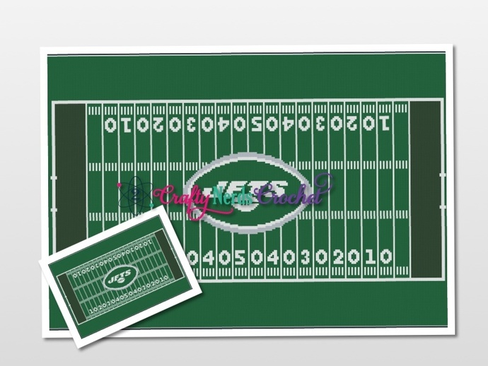 Football Field NY Jets Logo  Pattern Graph With Single Crochet Written