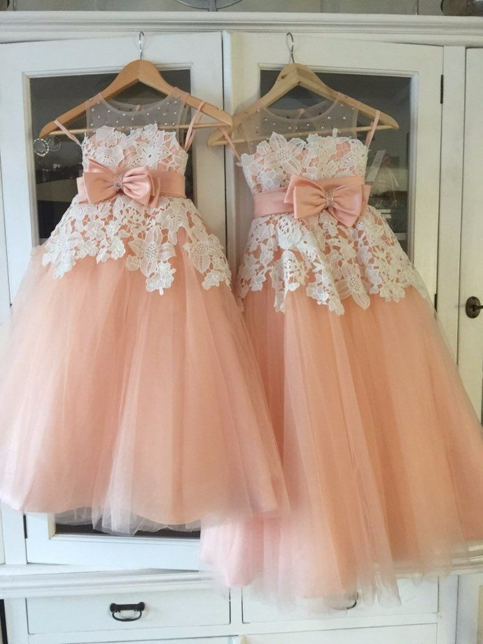 Pink Tulle Round Neckline Flower Girl Dress, Cute Flower Girl Dresses