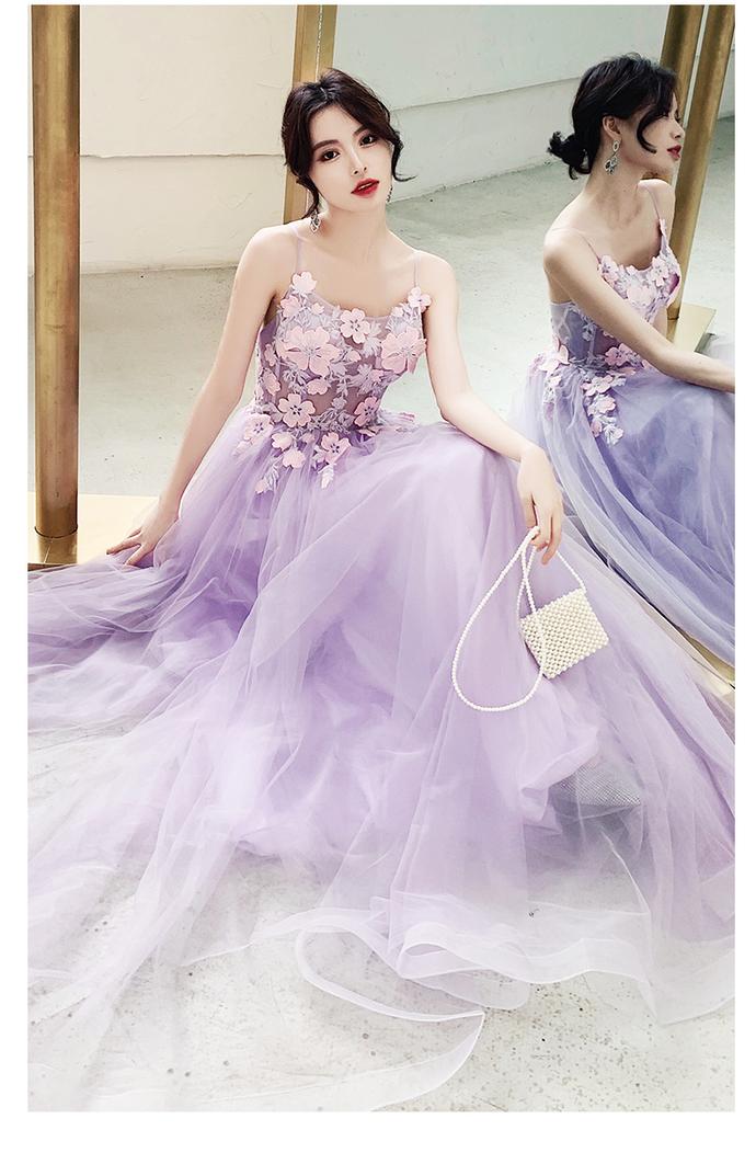 Elegant Lavender Tulle Floor Length Party Dress, Long Prom Dress 2020