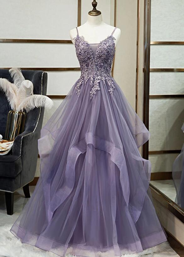 Elegant Tulle V-neckline Purple New Prom Dress 2020, A-line Party Dress