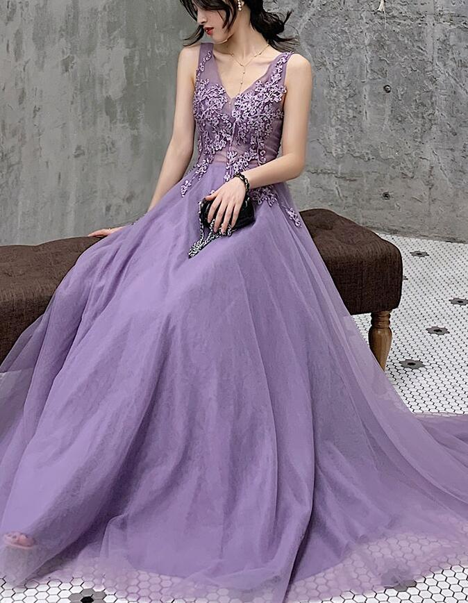 New Style Purple V-neckline Prom Dress 2020, Charming Evening Dress