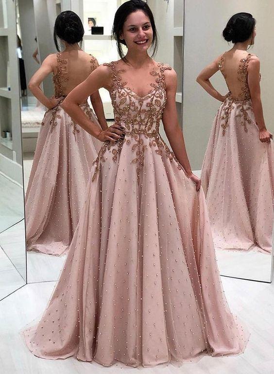 Stylish sweetheart neck tulle long prom dress, evening dress