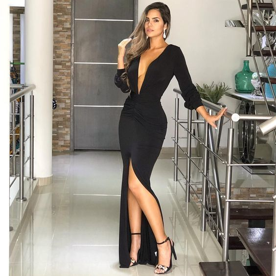 Black Deep V-neck Sexy Evening Dress With Slit Prom Dress , Long Sleeves Prom