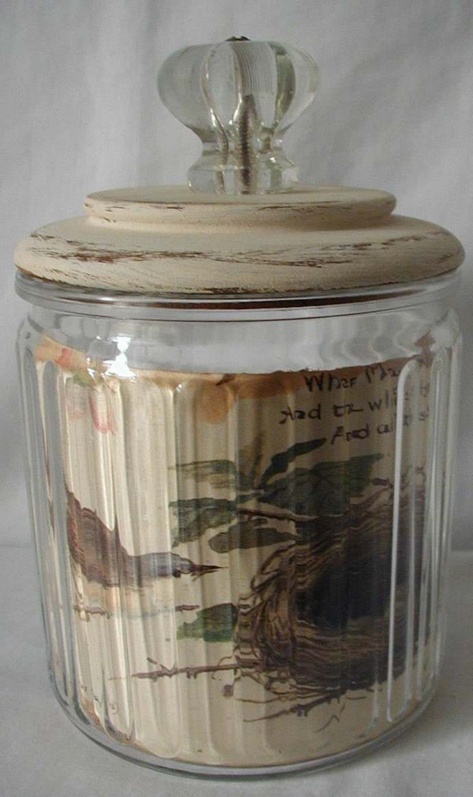 farmhouse decor / vintage /Pipe Tobacco Jar / Altered Art / nature / Woodland