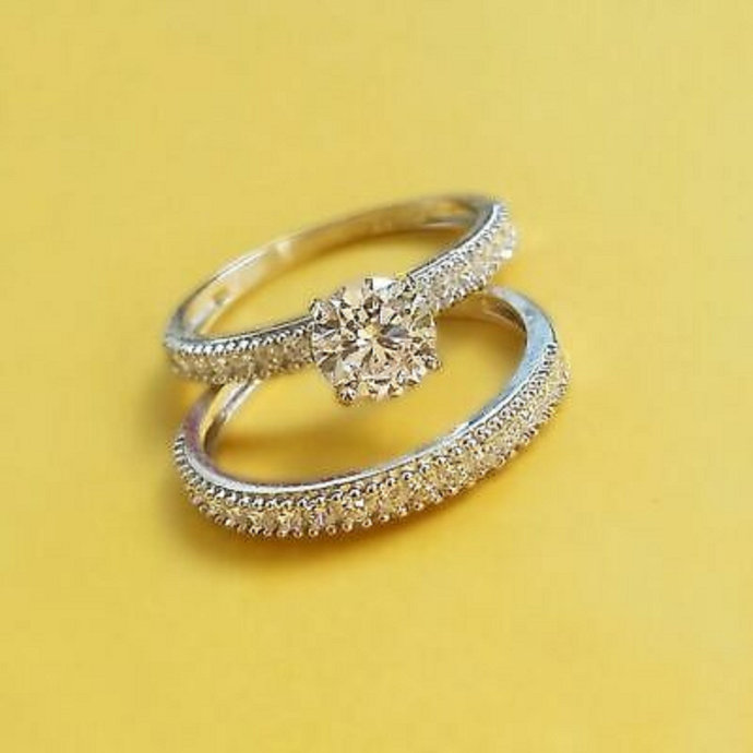 14k Yellow Gold Finish Pear Shape Diamond Wedding Ring Set 3 Piece Engagement