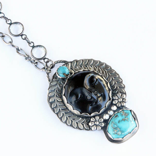Dark Moon Necklace - Sterling Silver Metalsmith Pendant Necklace Black Bone Moon