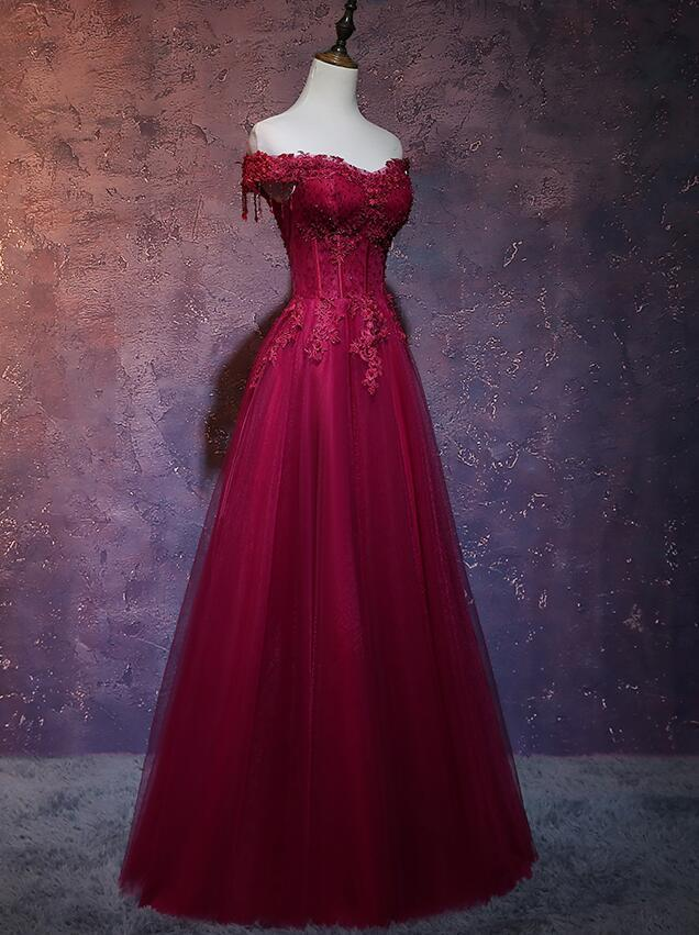 Dark Red Tulle Off Shoulder Prom Dress, Beautiful Party Dress 2020