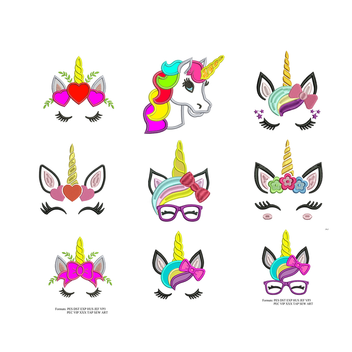 Unicorn set embroidery designs , set of 9 designs, embroidery designs No 988 ...