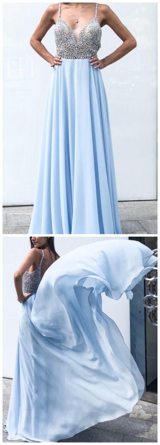 Fantastic Baby Blue Beaded A-line Prom Dress, Sleeveless