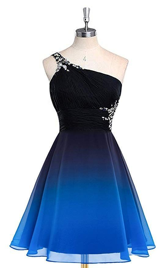 Gradient Color Chiffon One Shoulder Homecoming Dress Short Prom Gowns