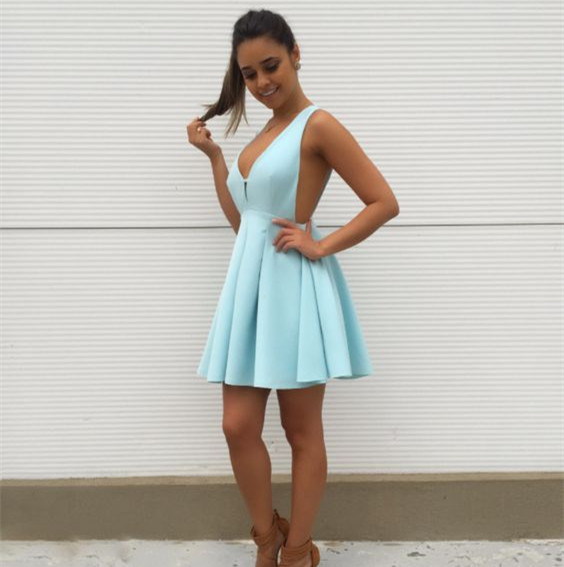 Sexy Deep V neck Blue Short Party Dress, Blue Homecoming Dress