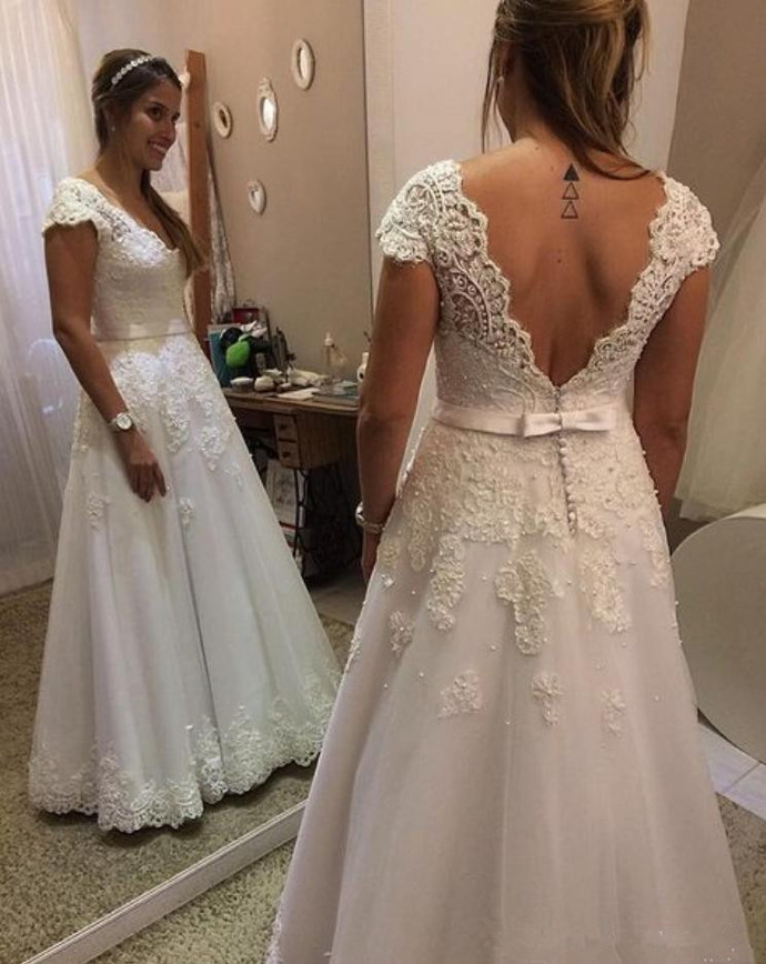Cap Sleeve White Appliques Open Back Floor Length Wedding Dresses