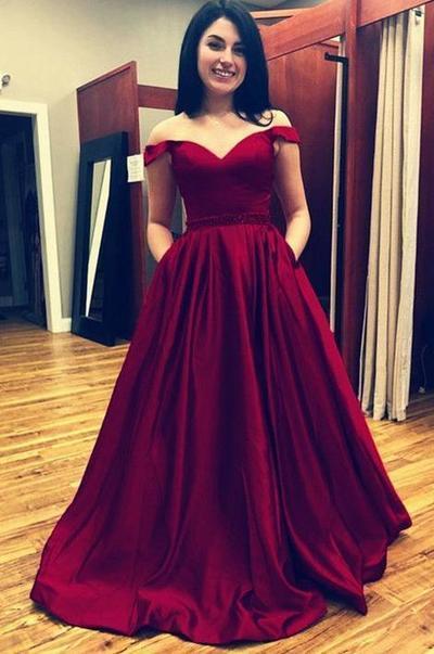 Fashion Off the Shoulder Wine Red Prom Dress, Formal Evening Dress