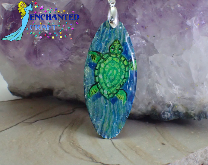 Sea lovers! handpainted green sea turtle on ocean blue wood pendant resin coat