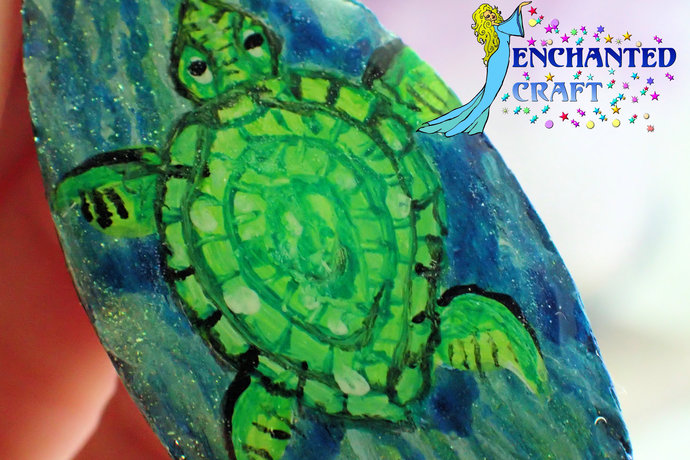 Sea lovers! handpainted green sea turtle on ocean blue wood pendant resin coat