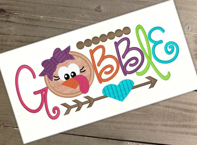 Gobble Turkey Embroidery Saying Applique Gobble Design Thanksgiving Embroidery