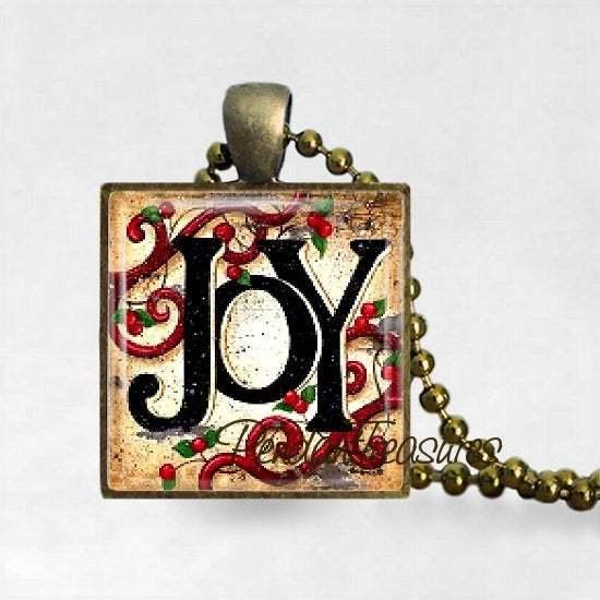 Vintage Country Christmas JOY Rustic Farmhouse Art Typography  Handmade Pendant