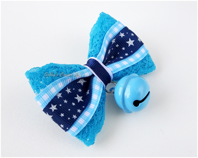 Winter Wonderland Star Print Bow tie For Cats, Blue, White, Removable, Slide on,