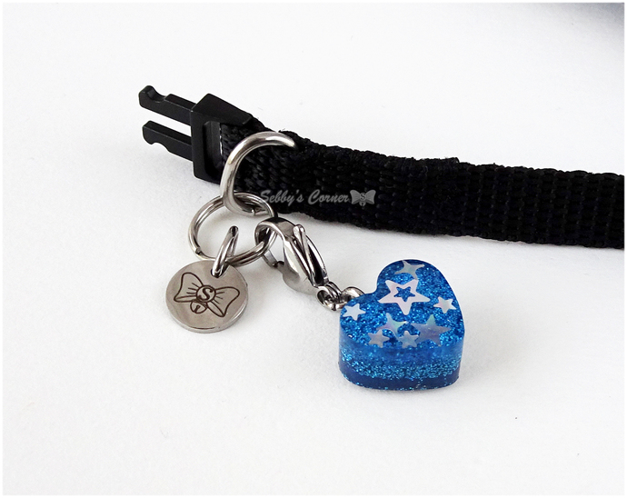 Superstar Blue Glitter Resin Heart Charm with Clip, Zipper Pulls, Pet Accessory,