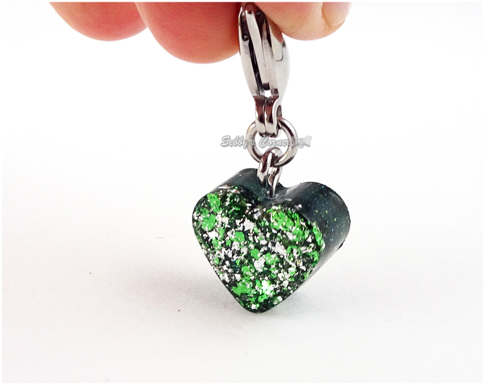 Snake Charmer Green Heart Charm, Resin Charms, Pet Collar Charms, Zipper Pull