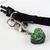 Snake Charmer Green Heart Charm, Resin Charms, Pet Collar Charms, Zipper Pull