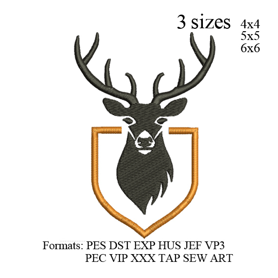 Deer Head embroidery design,Deer head embroidery pattern No 878... 3 sizes