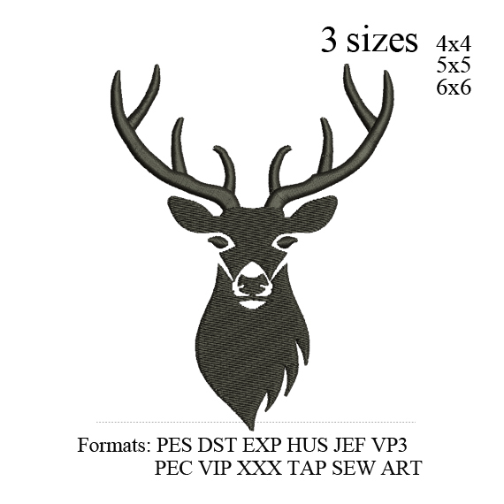 Deer Head embroidery design,Deer head embroidery pattern No 879... 3 sizes