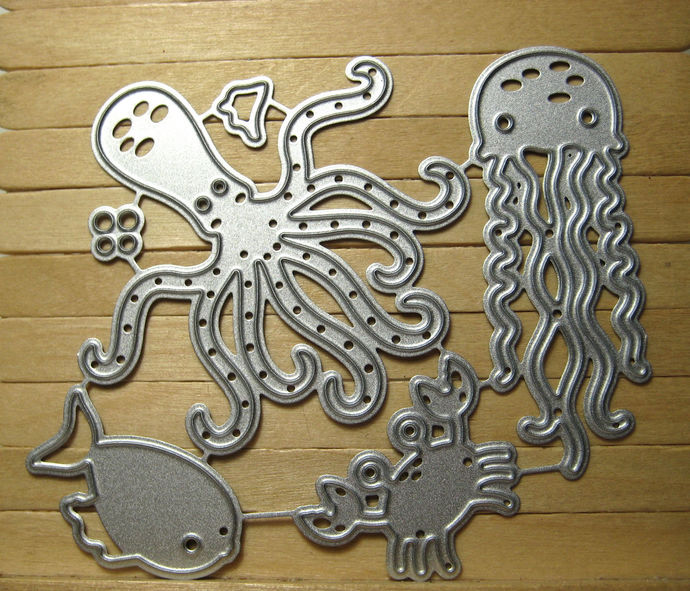 6pc Sea Life Metal Cutting Die Set, Jellyfish, Octopus, Fish and Crab