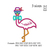 Flamingo with bow and glasses Applique embroidery ;Flamingo applique design