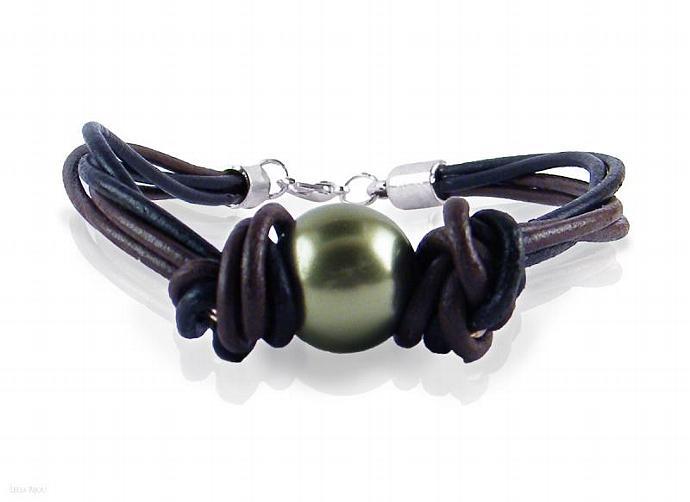 Green Pearl Bracelet Black Brown Leather Swarovski Crystal Silver Plated