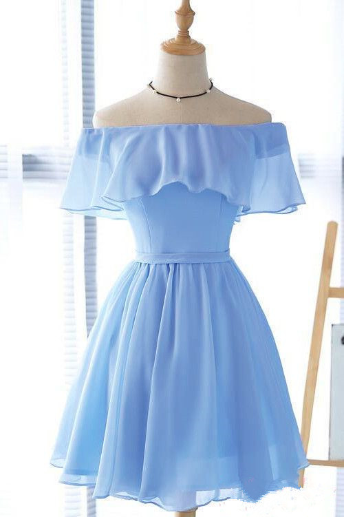 Chiffon Blue Short Party Dress 2020, Blue Prom Dress