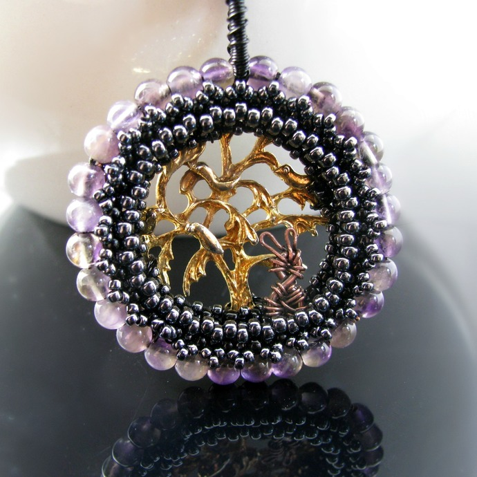 Beaded amethyst pendant with golden tree and bunny