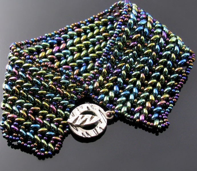 Beaded Herringbone bracelets with Twin and seed beads