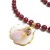 Ruby jade necklace with shell pendant, stone and natural sea shell necklace,