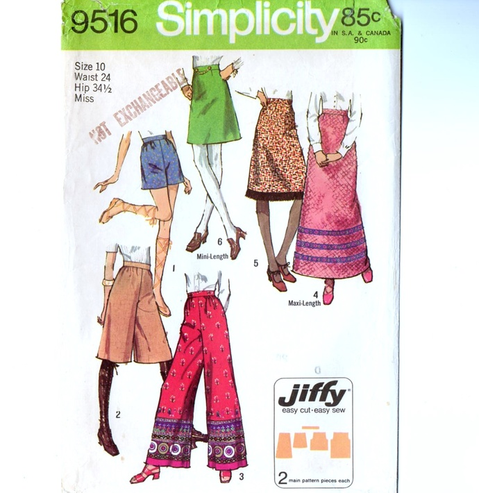 Simplicity 9516 Misses Skirt, Pants 70s Vintage Sewing Pattern Size 10 Waist 24