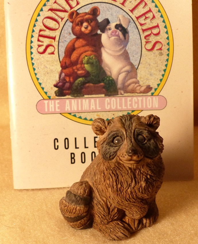 Stone Critters, Baby Raccoon, Vintage Figurine, Raccoon Figurine, Clay Figurine,