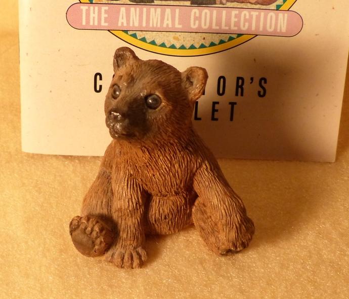 Stone Critters, Brown Bear Cub, Vintage Figurine, Bear Cub Figurine, Clay