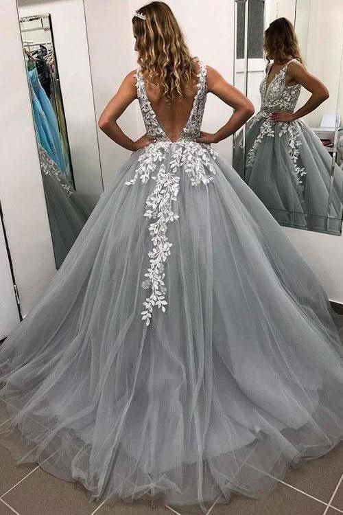 Gray Prom Dress,Backless Prom Gown, V-Neck Prom Dress, Appliques Prom Gown 9983